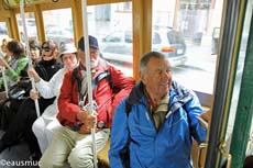 Christa, Charly und mein Vater in der Cable Car